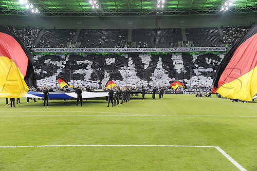 31.08.2016 Moenchengladbach, Germany. International football freindly. Germany versus Finland. Fans with warm messages for Bastian Schweinsteiger  upon his international retirement game