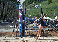Berkeley, CA - April 8, 2017: The Cal Bears Beach Volleyball Team vs San Jose State Spartants at Clark Kerr Sand Courts. Final score Cal Bears 2, San Jose State Spartans 3.