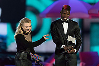Shawn Mendes and Paul Pogba present an award during the show of the 2017 MTV Europe Music Awards, EMAs, at SSE Arena, Wembley, in London, Great Britain, on 12 November 2017. Photo: Hubert Boesl <br />