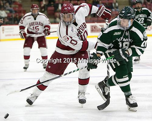 Brayden Jaw (Harvard - 10), Corey Kalk (Dartmouth - 18) - The Harvard University Crimson defeated the Dartmouth College Big Green 5-2 to sweep their weekend series on Sunday, November 1, 2015, at Bright-Landry Hockey Center in Boston, Massachusetts. -