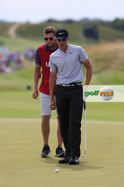 Cameron Champ (AM)(USA) on the 8th green during Saturday's Round 3 of the 117th U.S. Open Championship 2017 held at Erin Hills, Erin, Wisconsin, USA. 17th June 2017.<br /> Picture: Eoin Clarke | Golffile<br /> <br /> <br /> All photos usage must carry mandatory copyright credit (&copy; Golffile | Eoin Clarke)