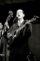 Pokey LaFarge, vocals and guitar.  American group, Pokey LaFarge and the South City Three, play riverboat soul at the Blue Coconut Club, Pulborough, Sussex.