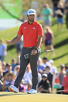 2nd February 2020, TPC Scottsdale, Arizona, USA;  Jon Rahm directs the ball on his second hole putt during the final round of the Waste Management Phoenix Open