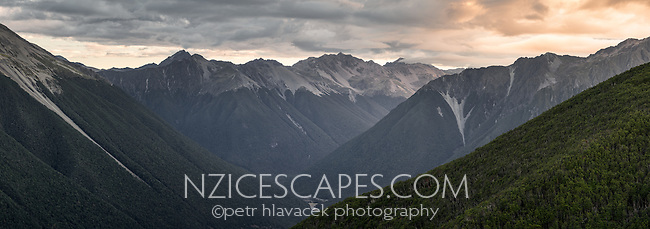 Moody sunset views of St. Arnaud Ranges, Nelson Lake National Park, South Island, New Zealand, NZ