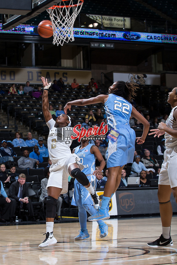 Amber Campbell (2) of the Wake Forest Demon Deacons shoots over N'Dea Bryant (22) of the North Carolina Tar Heels during first half action at the LJVM Coliseum on January 21, 2016 in Winston-Salem, North Carolina.  The Demon Deacons defeated the Tar Heels 75-63.  (Brian Westerholt/Sports On Film)