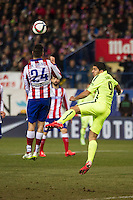 Atletico de Madrid´s Gimenez and Barcelona´s Luis Suarez during 2014-15 Spanish King Cup match between Atletico de Madrid and Barcelona at Vicente Calderon stadium in Madrid, Spain. January 28, 2015. (ALTERPHOTOS/Luis Fernandez) /nortephoto.com<br />