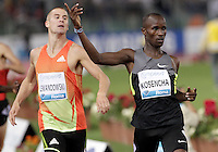 Il kenyota Leonard Kirwa Kosencha vince gli 800 metri uomini davanti al polacco Marcin Lewandowski durante il Golden Gala di atletica leggera allo stadio Olimpico di Roma, 31 maggio 2012..Kenya's Leonard Kirwa Kosencha wins the men's 800 meters before Marcin Lewandowski during the IAAF athletic Golden Gala meeting at Rome's Olympic stadium, 31 may 2012..UPDATE IMAGES PRESS/Riccardo De Luca