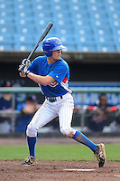Outfielder Lane Thomas (15) of Bearden HIgh School in Knoxville, Tennessee playing for the Chicago Cubs scout team during the East Coast Pro Showcase on August 2, 2013 at NBT Bank Stadium in Syracuse, New York.  (Mike Janes/Four Seam Images)