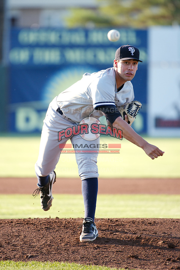 Staten Island Yankees starting pitcher Gabriel Encinas #18 during a game against the Batavia Muckdogs at Dwyer Stadium on July 30, 2012 in Batavia, New York.  Batavia defeated Staten Island 5-4 in 11 innings.  (Mike Janes/Four Seam Images)