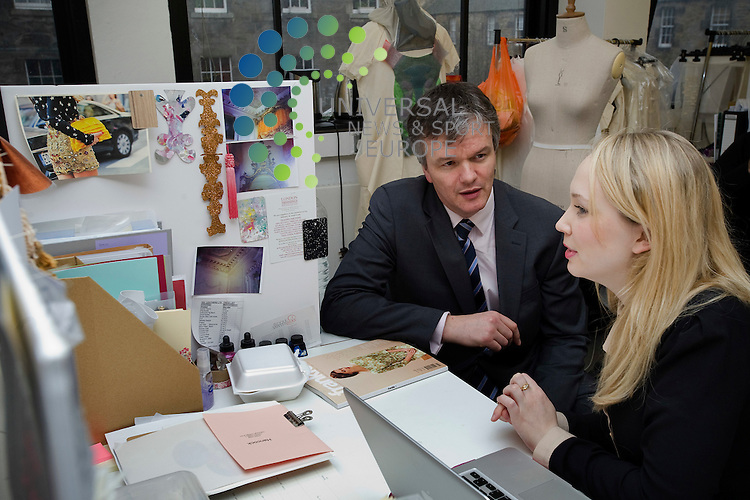 Scottish Secretary Michael Moore visits the Scottish Academy of Fashion at Edinburgh College of Art, meeting design students, Edinburgh, Scotland, 23rd February, 2012.Picture:Scott Taylor Universal News And Sport (Europe) .All pictures must be credited to www.universalnewsandsport.com. (Office)0844 884 51 22.