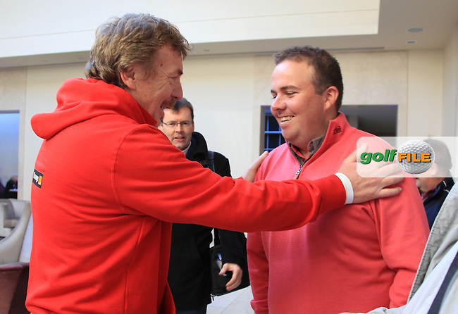 Shane Lowry Touring professional at Carton House meeting some of the polish team management at a preview event to the Irish open in Carton House..Picture: Fran Caffrey / www.golffile.ie ..