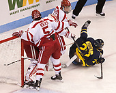 Chad Krys (BU - 5), Jake Oettinger (BU - 29), Charlie McAvoy (BU - 7), Mathieu Tibbet (Merrimack - 22) - The visiting Merrimack College Warriors defeated the Boston University Terriers 4-1 to complete a regular season sweep on Friday, January 27, 2017, at Agganis Arena in Boston, Massachusetts.The visiting Merrimack College Warriors defeated the Boston University Terriers 4-1 to complete a regular season sweep on Friday, January 27, 2017, at Agganis Arena in Boston, Massachusetts.