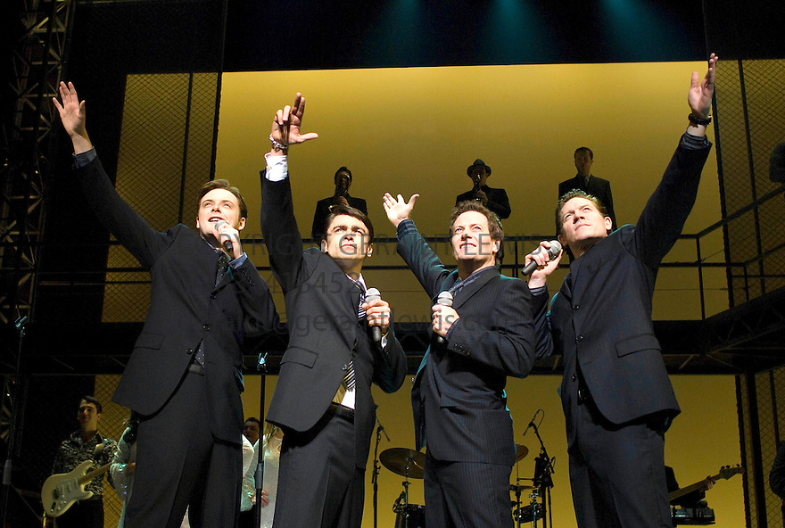 Jersey Boys. Book by Marshall Brickman and Rick Elice,Music by Bob Gaudio,Lyrics by Bob Crewe.Directed by Des McAnuff.With Stephen Ashfield as Bob Gaudio, Ryan Molloy as Frankie Valli, Glenn Carter as Tommy DeVito,Philip Bulcock as Nick Massi,  . Opens at The Prince Edward Theatre  18/3/08. CREDIT Geraint Lewis