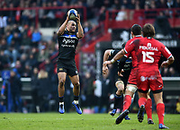 Jonathan Joseph of Bath Rugby receives the ball. Heineken Champions Cup match, between Stade Toulousain and Bath Rugby on January 20, 2019 at the Stade Ernest Wallon in Toulouse, France. Photo by: Patrick Khachfe / Onside Images