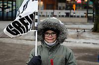 Manifestation des grevistes de l'Universite TELUQ,le 8 fevrier 2019,Devant les bureaux montréalais de l'Université TÉLUQ, 5800 St Denis<br /> <br /> <br /> Photo:  Agence Quebec Presse