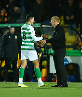 4th March 2020; Almondvale Stadium, Livingston, West Lothian, Scotland; Scottish Premiership Football, Livingston versus Celtic; Livingston manager Gary Holt congratulates goal scorer Tom Rogic of Celtic