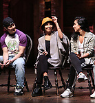"Thayne Jasperson, Christina Glur and Gabriella Sorrentino during the Q & A before The Rockefeller Foundation and The Gilder Lehrman Institute of American History sponsored High School student #eduHAM matinee performance of ""Hamilton"" at the Richard Rodgers Theatre on June 5, 2019 in New York City."
