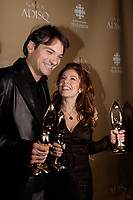 Montreal (Qc) CANADA - October 28 2007-<br /> Nicola Ciccone, winner, Male interpret of the year (<br /> Interpr&Euml;te masculin de l'ann&Egrave;e),<br /> Isabelle Boulay , winner female singer and show of the year<br />  (Interpr&Euml;te f&Egrave;minine de l'ann&Egrave;e et Spectacle de l'ann&Egrave;e - Interpr&Euml;te)<br /> 2007 ADISQ Gala held at Saint-Denis Theater in Montreal<br /> <br />  Photo (c) 2007 Pierre Roussel- Images Distribution