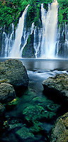 906500015 panoramic view -  mcarthur burney state park california burney falls a spring fed perpetual waterfall cascades over a cliff face and down through a river of large boulders