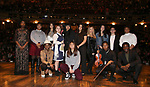 "Student performers during the eduHAM Q & A before The Rockefeller Foundation and The Gilder Lehrman Institute of American History sponsored High School student #EduHam matinee performance of ""Hamilton"" at the Richard Rodgers Theatre on December 11, 2019 in New York City."