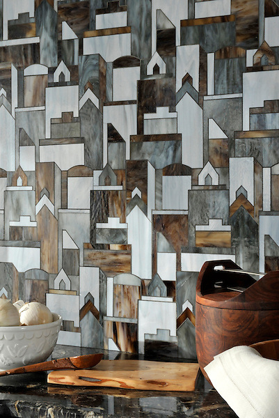 Cityscape, a waterjet glass mosaic shown in Pearl, Lavastone, and Tourmaline, is part of the Erin Adams Collection for New Ravenna Mosaics.<br /> Take the next step: prices, samples and design help, http://www.newravenna.com/showrooms/