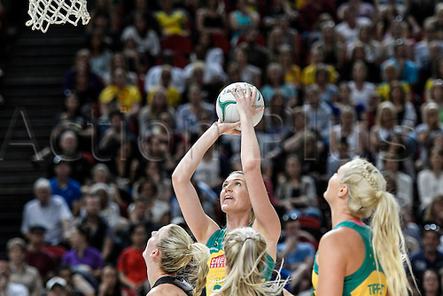 09.10.2016. Qudos Bank Arena, Sydney, Australia. Constellation Cup Netball. Australia Diamonds versus New Zealand Silver Ferns. Australias Caitlin Bassett shoots for goal. The Diamonds won the game 68-56.
