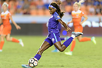 Houston, TX - Saturday June 17, 2017: Chioma Ubogagu takes a shot at the Houston goal during a regular season National Women's Soccer League (NWSL) match between the Houston Dash and the Orlando Pride at BBVA Compass Stadium.
