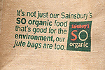 So Organic juts shopping bag from Sainsbury supermarket, England, UK