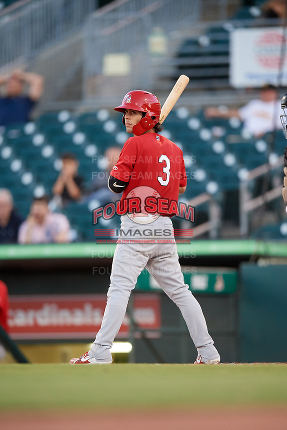 Palm Beach Cardinals shortstop Kramer Robertson (3) at bat during a game against the Jupiter Hammerheads on August 4, 2018 at Roger Dean Chevrolet Stadium in Jupiter, Florida.  Palm Beach defeated Jupiter 7-6.  (Mike Janes/Four Seam Images)