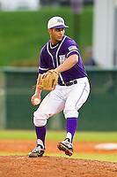 High Point Panthers starting pitcher Matt Armstead #4 in action against the VMI Keydets at Willard Stadium on March 31, 2012 in High Point, North Carolina.  The Panthers defeated the Keydets 2-0.  (Brian Westerholt/Four Seam Images)