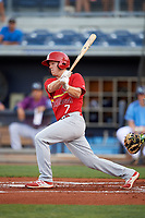 Palm Beach Cardinals right fielder Shane Billings (7) follows through on a swing during a game against the Charlotte Stone Crabs on April 21, 2018 at Charlotte Sports Park in Port Charlotte, Florida.  Charlotte defeated Palm Beach 5-2.  (Mike Janes/Four Seam Images)