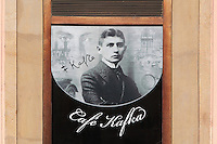 Portrait of Franz Kafka, 1883-1924, Czech writer and philosopher, on the facade of the Cafe Franz Kafka in the Birthplace House of Franz Kafka, on the corner of Kaprova Street and Maiselova Street, Prague, Czech Republic. Kafka was born in this building on July 3rd 1883 and lived here with his parents for 2 years. A memorial plate and the name of the square commemorate Franz Kafka. The historic centre of Prague was declared a UNESCO World Heritage Site in 1992. Picture by Manuel Cohen