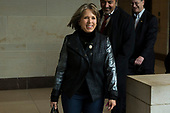 United States Representative Michelle Lujan Grisham (Democrat of New Mexico) walks with other members of the Democratic Caucus on their way to a caucus meeting at the United States Capitol on the first morning of a government shutdown as congress looks to end the political deadlock and fund the government on January 20th, 2018 in Washington, D.C. <br /> Credit: Alex Edelman / CNP