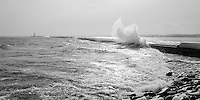The Presque Isle breakwater during a mid-January winter storm. Marquette, MI