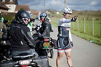 Just as the finale of the race is on, Fabian Cancellara (SUI/Trek-Segafredo) is sidelined by a torn off derailleur and awaits the teamcar to drop off his spare bike<br /> <br /> E3 - Harelbeke 2016