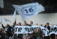 Racing 92 fans during the game<br /> <br /> Photographer Ian Cook/CameraSport<br /> <br /> European Rugby Champions Cup - Scarlets v Racing 92 - Saturday 13th October 2018 - Parc y Scarlets - Llanelli<br /> <br /> World Copyright © 2018 CameraSport. All rights reserved. 43 Linden Ave. Countesthorpe. Leicester. England. LE8 5PG - Tel: +44 (0) 116 277 4147 - admin@camerasport.com - www.camerasport.com