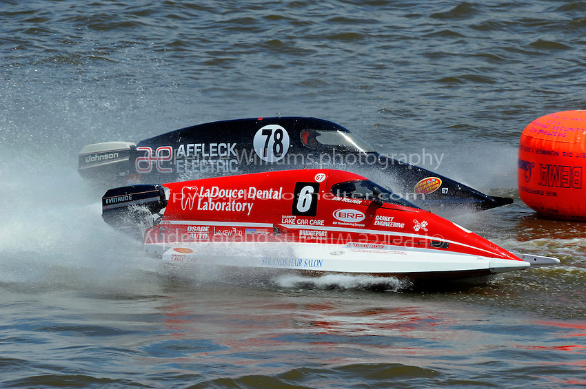 Bud Nollman (#6) & Butch Ott (#78) race into the first turn. SST-45 class.Bay City River Roar, Bay City,Michigan USA.26-2821 June, 2009..©F. Peirce Williams 2009 USA.F.Peirce Williams.photography.ref: RAW (.NEF) File Available