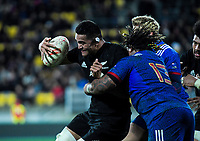 France's Mathieu Bastareaud tackles NZ's Vaea Fifita during the Steinlager Series international rugby match between the New Zealand All Blacks and France at Westpac Stadium in Wellington, New Zealand on Saturday, 16 June 2018. Photo: Dave Lintott / lintottphoto.co.nz
