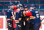 Stockholm 2015-09-04 Ishockey CHL Djurg&aring;rdens IF - EV Zug :  <br /> Djurg&aring;rdens Alexander F&auml;llstr&ouml;m firar sitt 4-2 m&aring;l med Marcus H&ouml;gstr&ouml;m , Henrik Eriksson och Robin Alvarez under matchen mellan Djurg&aring;rdens IF och EV Zug <br /> (Foto: Kenta J&ouml;nsson) Nyckelord:  Ishockey Hockey CHL Hovet Johanneshovs Isstadion Djurg&aring;rden DIF Zug jubel gl&auml;dje lycka glad happy