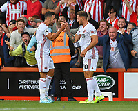 Billy Sharp of Sheffield United right celebrates his goal with George Baldock of Sheffield United during AFC Bournemouth vs Sheffield United, Premier League Football at the Vitality Stadium on 10th August 2019