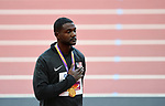 Justin Gatlin (USA) with his gold medal and his hand over his heart during the National anthem of the USA. Medal ceremony podium. IAAF world athletics championships. London Olympic stadium. Queen Elizabeth Olympic park. Stratford. London. UK. 06/08/2017. ~ MANDATORY CREDIT Garry Bowden/SIPPA - NO UNAUTHORISED USE - +44 7837 394578