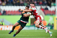 Ellis Genge of Leicester Tigers is tackled by Lewis Ludlow of Gloucester Rugby. Aviva Premiership match, between Leicester Tigers and Gloucester Rugby on September 16, 2017 at Welford Road in Leicester, England. Photo by: Patrick Khachfe / JMP