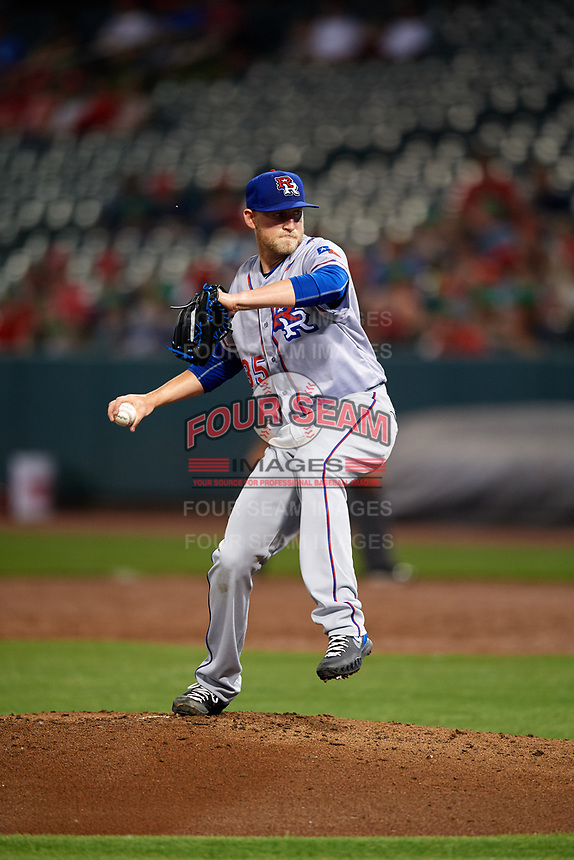 Round Rock Express relief pitcher Tyler Wagner (35) delivers a pitch during a game against the Memphis Redbirds on April 28, 2017 at AutoZone Park in Memphis, Tennessee.  Memphis defeated Round Rock 9-1.  (Mike Janes/Four Seam Images)
