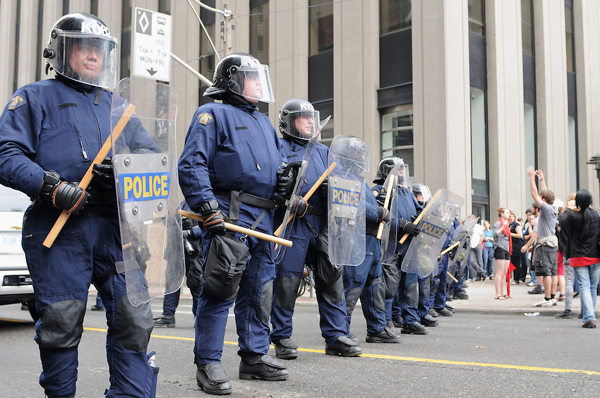 Toronto G 20 Protest RCMP Police Line Police Presence G 20 Protest Front Line Riot Police RCMP