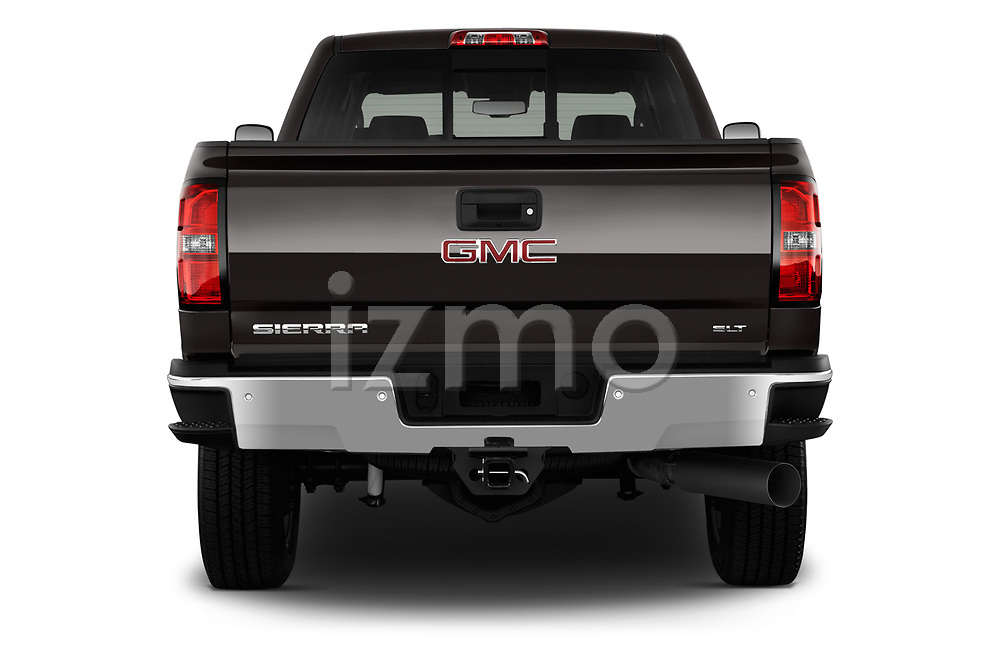Straight rear view of a 2018 GMC Sierra 2500HD 2WD Crew Cab Standard Box SLT 4 Door Pick Up stock images