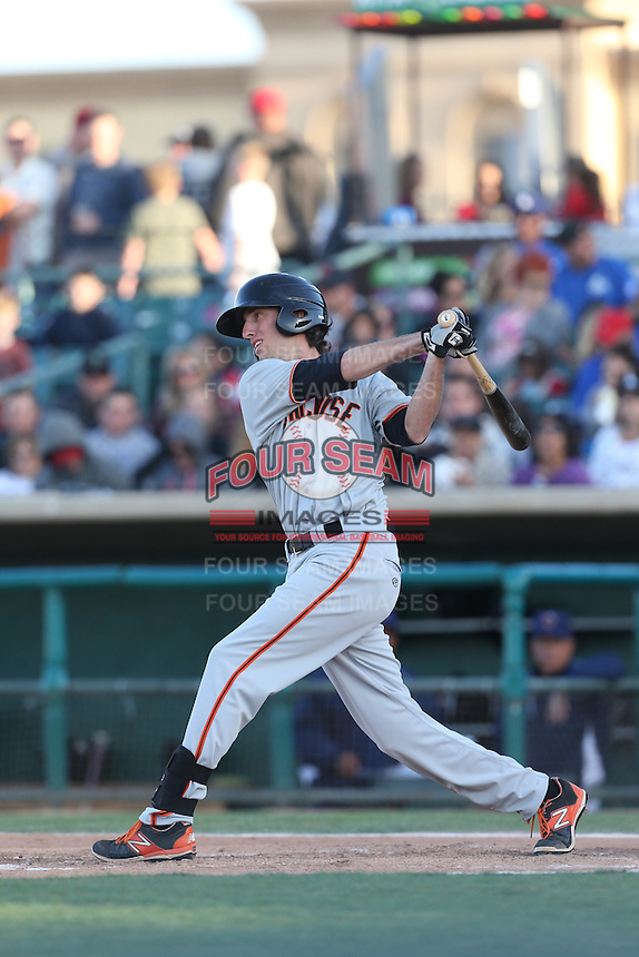 Brandon Bednar (19) of the San Jose Giants bats during a game against the Lancaster JetHawks at The Hanger on April 11, 2015 in Lancaster, California. San Jose defeated Lancaster, 8-3. (Larry Goren/Four Seam Images)