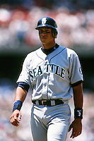 Alex Rodriguez of the Seattle Mariners during a game against the Los Angeles Dodgers at Dodger Stadium circa 1999 in Los Angeles, California. (Larry Goren/Four Seam Images)