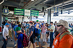 HARTFORD,  CT-071818JS17--Fans walk thought the concourse prior to the Yard Goat's game against Reading on Wednesday afternoon at Dunkin Donuts Park in Hartford.<br /> Jim Shannon Republican American