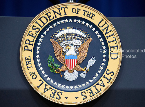 Seal of the President of the United States on the front of the podium in the South Court Auditorium of the White House in Washington, DC on Wednesday, June 22, 2016. <br /> Credit: Ron Sachs / CNP