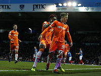 Blackpool's Chris Long celebrates scoring his side's first goal on his debut<br /> <br /> Photographer Andrew Kearns/CameraSport<br /> <br /> The EFL Sky Bet League One - Portsmouth v Blackpool - Saturday 12th January 2019 - Fratton Park - Portsmouth<br /> <br /> World Copyright &copy; 2019 CameraSport. All rights reserved. 43 Linden Ave. Countesthorpe. Leicester. England. LE8 5PG - Tel: +44 (0) 116 277 4147 - admin@camerasport.com - www.camerasport.com